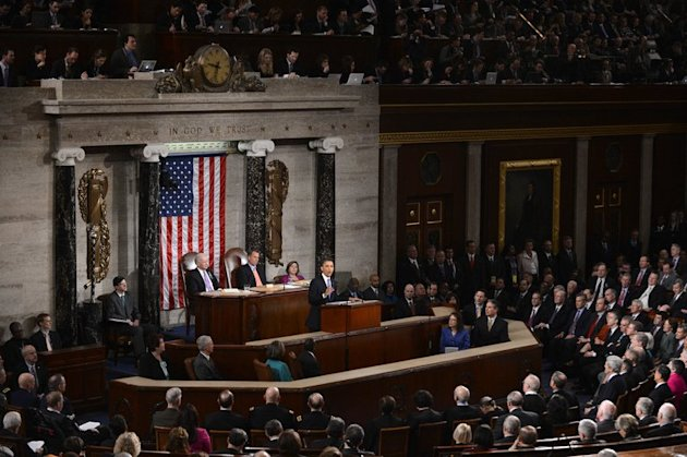 US President Barack Obama delivers his State of the Union address before a joint session of Congress on February 12, 2013 at the Capitol in Washington. Obama staked his second term political capital on an ambitious bid to strengthen America at home by reigniting its economic engine, cutting gun murders and fixing immigration