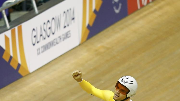 Australia's Jack Bobridge celebrates after winning the men's 4000m individual pursuit finals cycling race at the 2014 Commonwealth Games in Glasgow