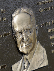 A George Eastman plaque is shown at the George Eastman Memorial where Eastman's ashes rest in Rochester, N.Y., Monday, Oct. 3, 2011. (AP Photo/David Duprey)