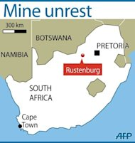 Rustenberg in South Africa. Hundreds of the 12,000 miners sacked by the world's largest platinum producer in South Africa on Saturday rejected their dismissal at a rally that also mourned a colleague killed in clashes with police