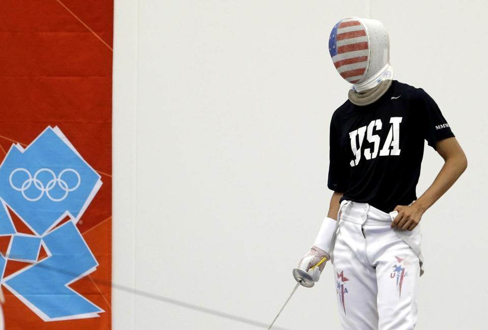 USA fencer Alexander Massialas pauses during a training session, at the ExCeL center at the 2012 Summer Olympics, Thursday, July 26, 2012, in London. (AP Photo/Andrew Medichini)
