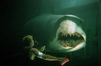 Carter Blake ( Thomas Jane ) runs into a deadly shark in Warner Brothers' Deep Blue Sea