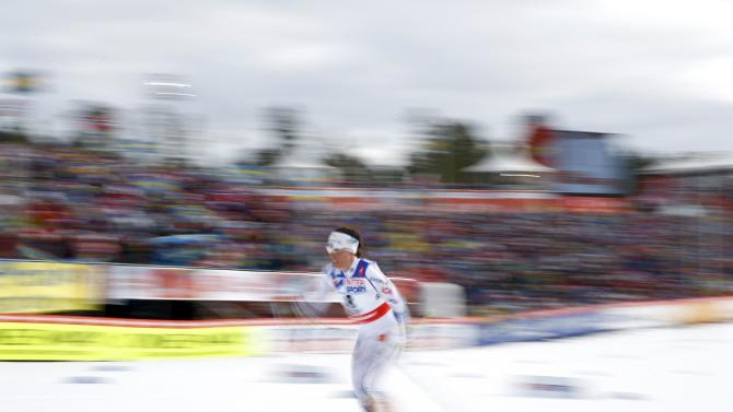 Sweden's Kalla competes in the women's cross country 30 km mass start classic race at the Nordic World Ski Championships in Falun