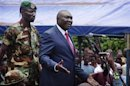 Central African Republic's new President Michel Djotodia speaks to his supporters at a rally in favour of the Seleka rebel coalition in downtown Bangui