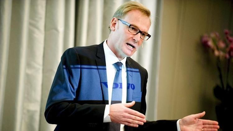 Volvo truck maker CEO Olof Persson gestures during a news conference in Stockholm