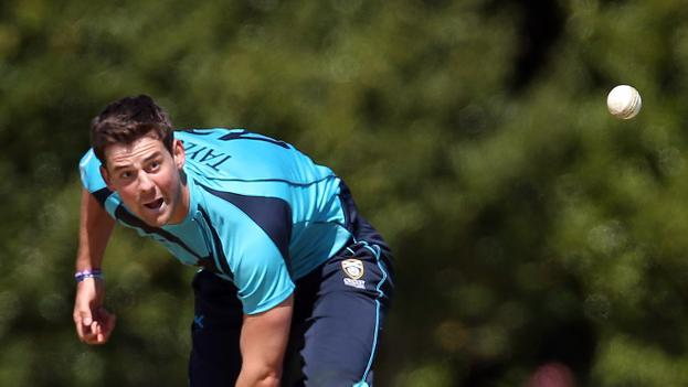 Rob Taylor of Scotland bowls during an ODI match against Pakistan, at Grange Cricket Club in Edinburgh, on May 17, 2013