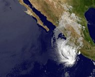 An image obtained from the National Oceanic and Atmospheric Administration GOES Project shows Storm Bud nearing the west coast of Mexico at 1600GMT on May 25. Bud has weakened further early Saturday and was downgraded to a tropical depression, but it continued to batter Mexico's coast with strong winds and torrential rain