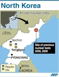 Map showing North Korea's known nuclear sites. Pyongyang insists its botched satellite launch was not a missile test and did not breach a February deal with Washington