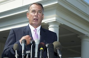 House Speaker John Boehner of Ohio speaks to reporters …