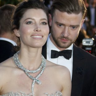 "Actress Jessica Biel and actor Justin Timberlake leave after the screening of the film ""Inside Llewyn Davis"" in competition during the 66th Cannes Film Festival"