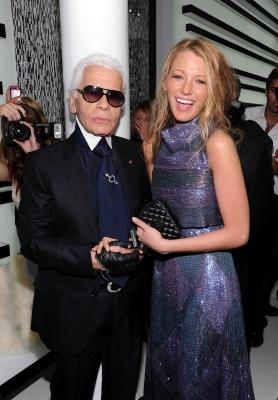 Designer Karl Lagerfeld and actress Blake Lively attend the reopening of the CHANEL SoHo Boutique at the Chanel Boutique Soho on September 9, 2010 in New York City -- Getty Images
