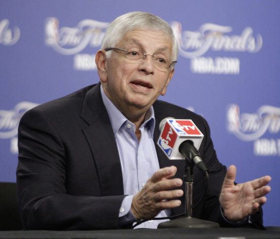 NBA Commissioner David Stern takes questions before Game 1 of the NBA finals basketball series between the Oklahoma City Thunder and the Miami Heat, Tuesday, June 12, 2012, in Oklahoma City. (AP Photo/Sue Ogrocki)