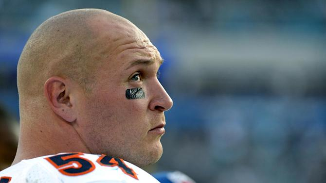 FILE - In this Oct. 7, 2012, file photo, Chicago Bears middle linebacker Brian Urlacher watches from the sideline during the second half of an NFL football game against the Jacksonville Jaguars in Jacksonville, Fla. The Bears announced on Wednesday, March 20, 2013, that they were unable to reach a contract agreement with Urlacher, who is an unrestricted free agent for the first time in his career. (AP Photo/Phelan M. Ebenhack, File)