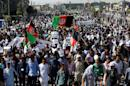 Demonstrators from Afghanistan's Hazara minority attend a protest in Kabul