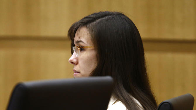 Jodi Arias listens to prosecutor Juan Martinez address  the jury on Wednesday, May 15, 2013, during the sentencing phase of her trial at Maricopa County Superior Court in Phoenix. If the jury finds aggravating factors in her crime, Arias could be sentenced to death. Jodi Arias was convicted of first-degree murder in the stabbing and shooting  death of Travis Alexander in his suburban Phoenix home in June 2008. (AP Photo/The Arizona Republic, Rob Schumacher, Pool)