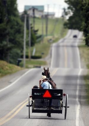 In this July 13, 2011 photo, Amish ride in a buggy in Centerville, N.Y. Centerville, a town south of Buffalo, has an established Amish community. Longstanding Amish population centers in Pennsylvania and Ohio have lost families while Amish numbers in New York have boomed in the past two years, according to a new study by Elizabethtown College researchers. (AP Photo/David Duprey)
