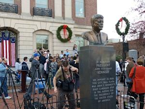 This bust of President John F. Kennedy graces the plaza at Nashua City Hall