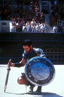 Maximus ( Russell Crowe ) prepares to do battle in the Roman Colosseum in Dreamworks' Gladiator