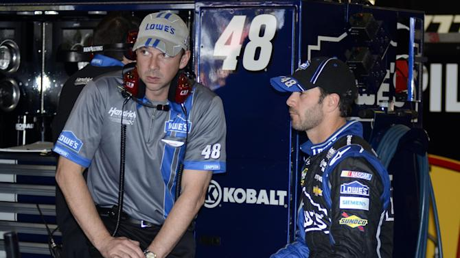 Crew Chief Chad Knaus, left, talks with driver Jimmie Johnson, right, in the garage during practice for the NASCAR Sprint Cup series NRA 500 auto race at Texas Motor Speedway, Friday April 12, 2013, in Fort Worth, Texas. (AP Photo/Larry Papke)