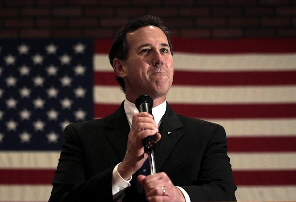 Republican presidential candidate, former Pennsylvania Sen. Rick Santorum addresses supporters at a campaign rally in Fond du Lac, Wis., Sunday, March 25, 2012. (AP Photo/Jae C. Hong)