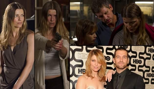 Ivana Milicevic as Carrie Hopewell (Ana) in Cinemax's 'Banshee' (left); Top Right -- Ryann Shane as Dava Hopewell, Rus Blackwell as Gordon Hopewell and Ivana as Carrie; Bottom right -- Ivana and Antony Starr at HBO's Emmy party 2013 -- Getty ImagesCinemax