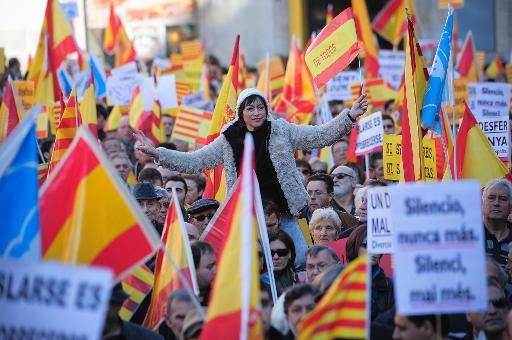 Catalans against independence during a demonstration in Barcelona on December 6, 2013