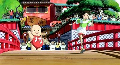 Chihiro is wished good fortune by a giant baby named Bou and the entourage in Hayao Miyazaki 's Spirited Away