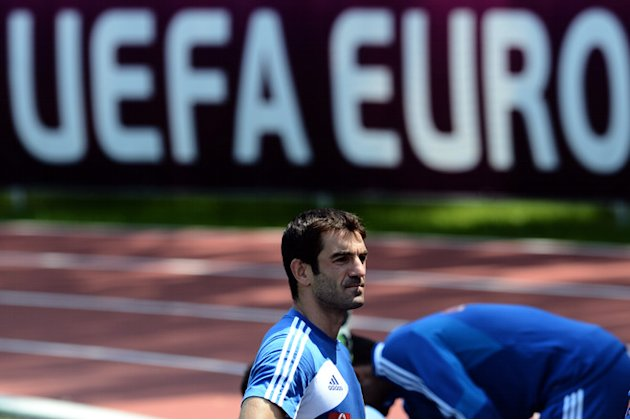 Greece's National Football Team Captain Giorgos Karagounis Looks AFP/Getty Images