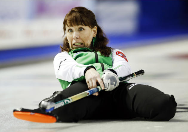 Saskatchewan skip Shumay watches her final shot to defeat Team Canada during the Scotties Tournament of Hearts curling championship in Kingston