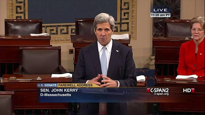 This handout frame grab image provided by C-SPAN2 shows Sen. John Kerry, D-Mass. giving his last speech as senator, Wednesday, Jan. 30, 2013, on the floor of the Senate on Capitol Hill in Washington. Kerry's last day as senator is Friday as he prepares to become the nation's next secretary of state. Sen. Elizabeth Warren, D-Mass. is at right. (AP Photo/CSPAN2)