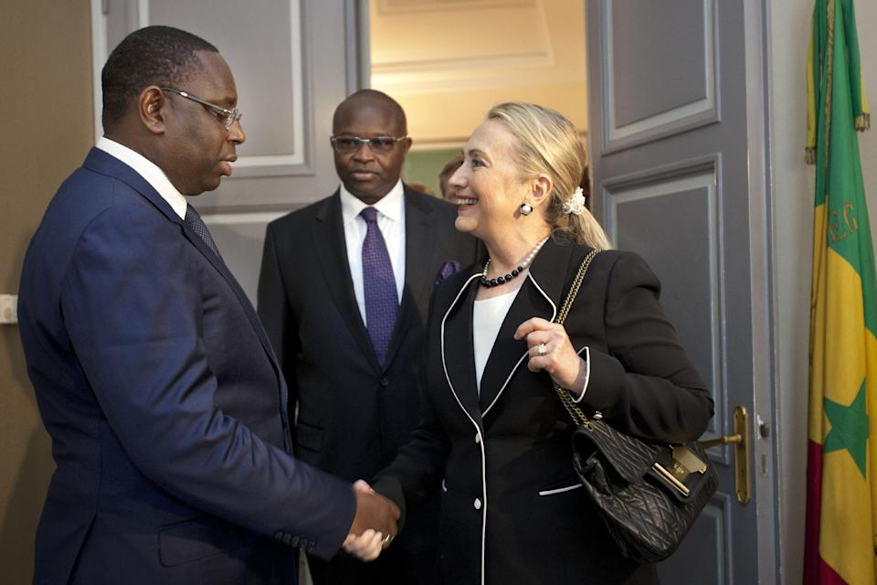 Secretary of State Hillary Rodham Clinton meets with Senegal's President Macky Sall at the Presidential Palace in Dakar, Senegal, Wednesday, Aug. 1, 2012. (AP Photo/Jacquelyn Martin, Pool)