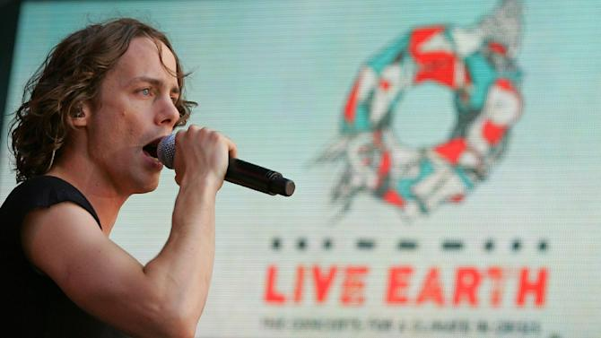 Johnny Borrell, lead singer of Razorlight, performs at the Live Earth concert at Wembley stadium in London, on July 7, 2007
