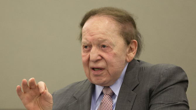 FILE - In this April 5, 2013 file photo, Las Vegas Sands Corp. CEO Sheldon Adelson testifies in Clark County district court, in Las Vegas. A jury on Tuesday, May 14, 2013 awarded Hong Kong businessman Richard Suen a $70 million judgment against Las Vegas Sands Corp. Suen claimed he was owed up to $328 million for helping the Las Vegas-based company secure a lucrative gambling license in Macau, the only place in China where casino gambling is legal. (AP Photo/Julie Jacobson, File)