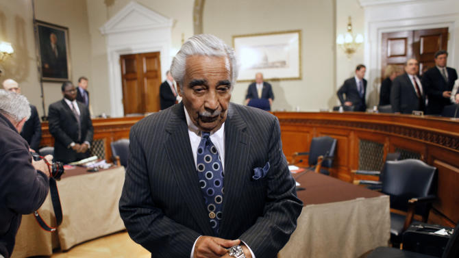 FILE - In this Nov. 18, 2010, file photo Rep. Charles Rangel, D, N.Y., leaves after the House ethics committee recommended that he be censured and pay any unpaid taxes for financial and fundraising misconduct on Capitol Hill in Washington. The 80-year-old Democrat from New York's Harlem neighborhood is ready to make a last stand to salvage his reputation and tell the House that a censure should be reserved for crooked politicians. He will argue that he's not one of them.   (AP Photo/Harry Hamburg, File)