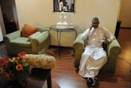 Sri Lanka&#39;s former army chief Sarath Fonseka is pictured at his residence following his release from prison in Colombo