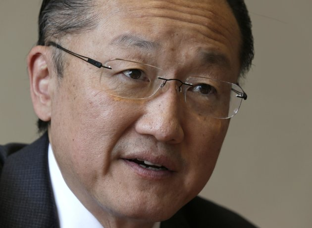 Kim President of the World Bank Group answers a reporter's question during an interview with Reuters aside of the 66th World Health Assembly at the United Nations in Geneva