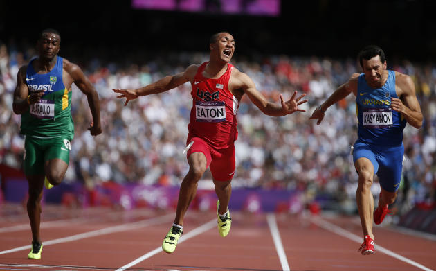 Ashton Eaton of the U.S. wins in the men's decathlon 100m heat during the London 2012 Olympic Games