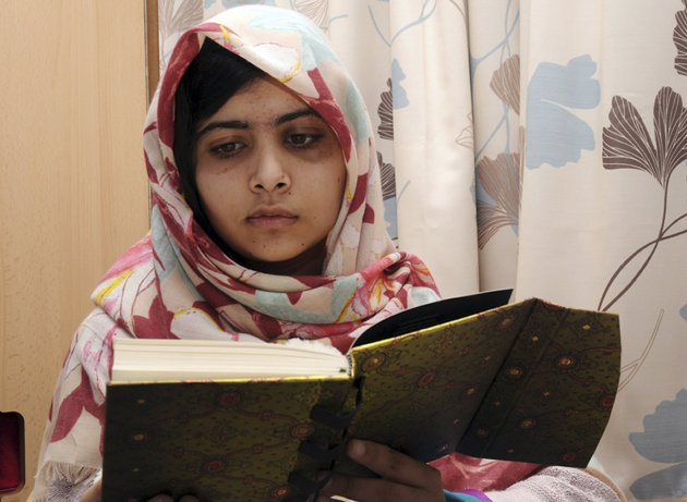FILE - In this undated file photo provided by Queen Elizabeth Hospital in Birmingham, England, Malala Yousufzai, the 15-year-old girl who was shot at close range in the head by a Taliban gunman in Pak