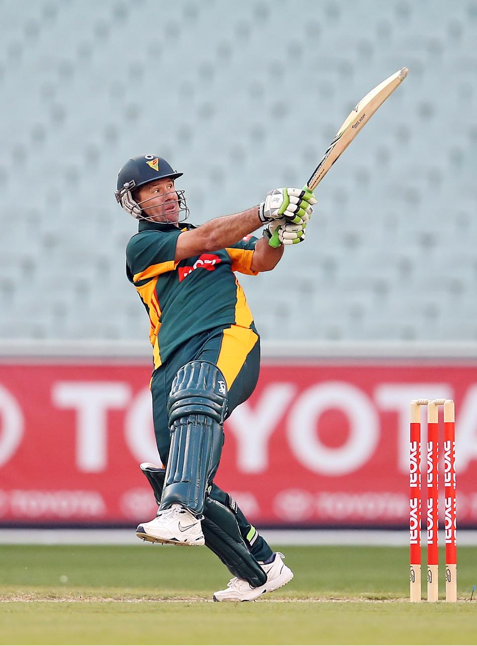 Ricky Ponting of the the Tigers bats during the Ryobi One Day Cup match between Victorian Bushrangers and the Tasmanian Tigers at Melbourne Cricket Ground on October 28, 2012 in Melbourne, Australia.