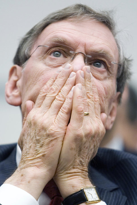 FILE - This Jan. 15, 2008 file photo shows Major League Baseball Commissioner Bud Selig reacting as he listens to former Senate Majority leader  George Mitchell testify before the House Oversight and