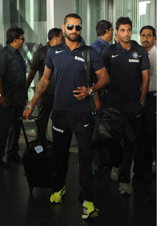 Indian cricket team arriving at NSC Bose International Airport in Kolkata on Nov. 3, 2013. (Photo: IANS)