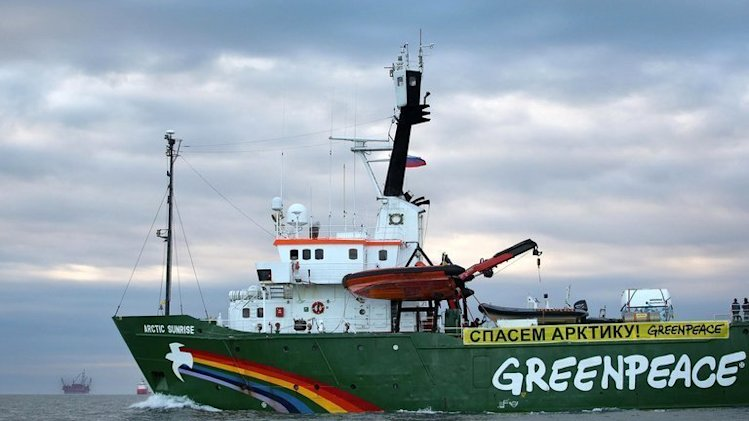 The Arctic Sunrise -- Greenpeace's Arctic protest ship -- somewhere off the coast of Russia, on September 17, 2013