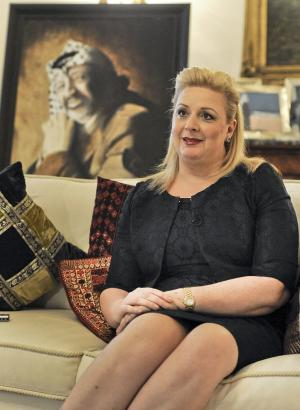 """Suha Arafat is interviewed by the Associated Press at her home in Sliema, Malta, Thursday, Nov. 29, 2012. The widow of Yasser Arafat says she sees a spiritual significance in the timing of her late husband's exhumation, which came just two days before a U.N. vote on whether to recognize a Palestinian state. Suha Arafat told The Associated Press on Thursday at her home in Malta that the exhumation to determine whether Arafat had been poisoned """"was as if his soul was resurrecting"""" ahead of Thursday's vote in the General Assembly. Mrs. Arafat called the former Palestinian leader's death in November 2004, a month after suddenly falling ill, """"the most important mystery of the Middle East."""" (AP Photo/Lino Azzopardi)"""