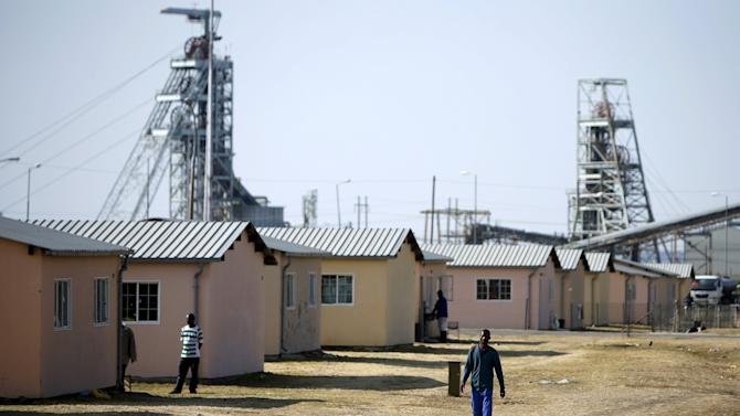Workers are seen at a hostel next to Lonmin's  Karee mine, outside Rustenburg, northwest of Johannesburg