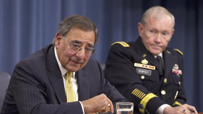 Defense Secretary Leon Panetta and Joint Chiefs Chairman Gen. Martin Dempsey take part in a news conference at the Pentagon, Thursday, Nov. 10, 2011.  (AP Photo/Evan Vucci)