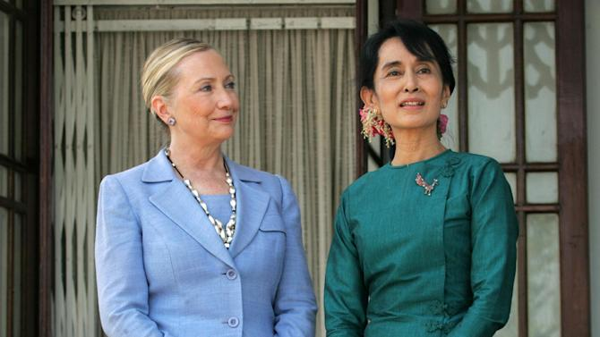 FILE - This Dec. 2, 2011 file photo shows Secretary of State Hillary Rodham Clinton meeting with Myanmar's pro-democracy leader Aung San Suu Kyi  in Yangon, Myanmar. Fresh from his re-election, President Barack Obama will embark on a trip to Southeast Asia and become the first U.S. president to visit Cambodia as well as the once pariah nation of Myanmar where he will hail the country's shift to democracy after five decades of ruinous military rule.   (AP Photo/Khin Maung Win, File)