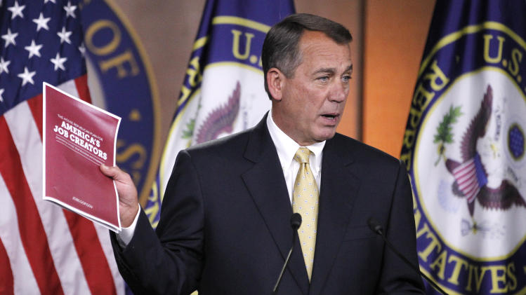 House Speaker John Boehner of Ohio speaks during a news conference on Capitol Hill in Washington, Thursday Oct. 13, 2011. (AP Photo/Manuel Balce Ceneta)