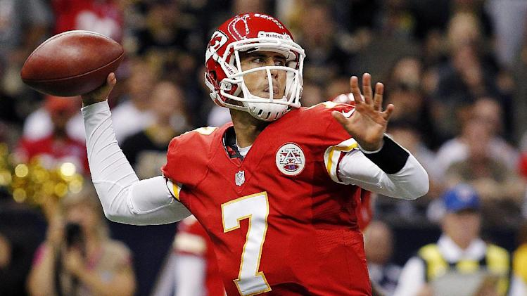 Kansas City Chiefs quarterback Matt Cassel (7) passes in the first half of an NFL football game against the New Orleans Saints in New Orleans, Sunday, Sept. 23, 2012. (AP Photo/Jonathan Bachman)