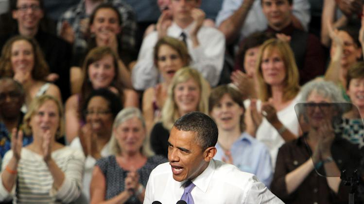 President Barack Obama speaks at the Oyster River High School gym, Monday, June 25, 2012 in Durham, N.H. (AP Photo/Jim Cole)