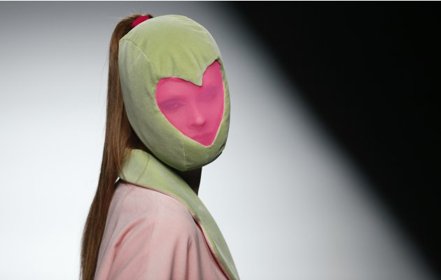 A model presents a creation from Agatha Ruiz de la Prada's Fall/Winter 2013 collection during the Mercedes-Benz Fashion Week in Madrid